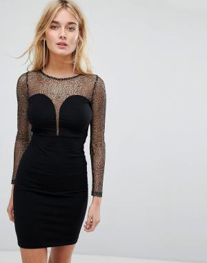 Motel Облегающее платье с глубоким вырезом и сетчатой вставкой. Цвет: черный