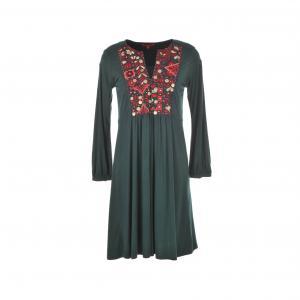 Платье из трикотажа Genièvre, с расшитой манишкой RENE DERHY. Цвет: хаки темный