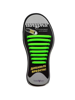 Cиликоновые шнурки TERRITORY. Цвет: зеленый