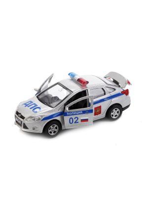 Машина металлическая инерционная Ford Focus Полиция 12см, открываются двери. Технопарк. Цвет: серебристый, синий