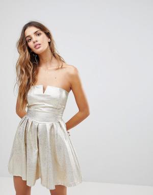 Wal G Платье-бандо цвета металлик. Цвет: золотой