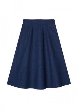 Юбка джинсовая Base Forms. Цвет: синий