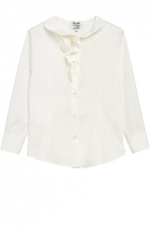 Блуза с оборками из эластичного хлопка Aletta. Цвет: кремовый
