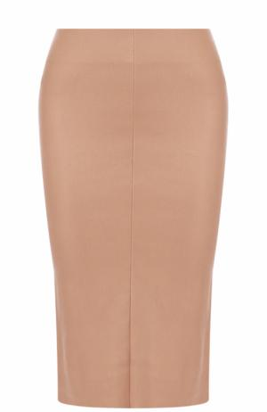 Кожаная юбка-карандаш с разрезом DROMe. Цвет: бежевый