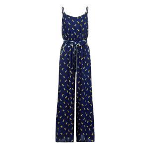 Комбинезон с брюками, широкий, рисунком YUMI. Цвет: темно-синий
