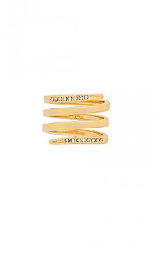 Спиральное кольцо с инкрустацией Luv AJ. Цвет: металлический золотой