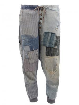 Лоскутные брюки Greg Lauren. Цвет: синий