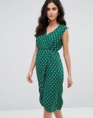 Darling Фактурное платье миди с запахом. Цвет: зеленый