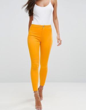 ASOS Желтые джеггинсы с завышенной талией RIVINGTON. Цвет: оранжевый