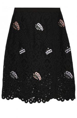 Кружевная мини-юбка с цветочной вышивкой Markus Lupfer. Цвет: черный