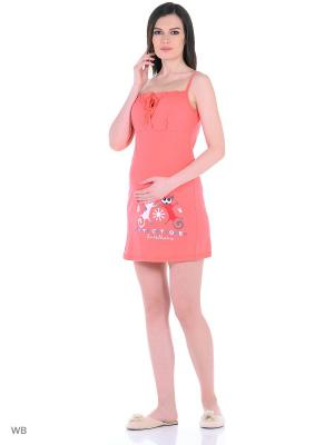 Сорочка EUROMAMA. Цвет: коралловый