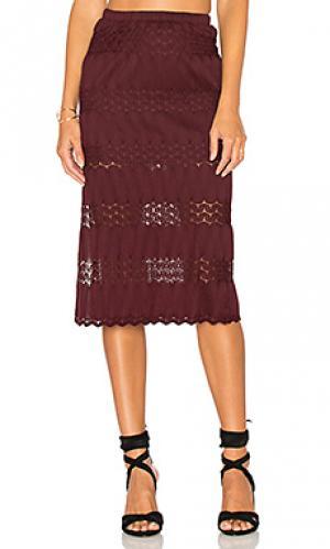 Миди юбка с вышивкой крошё Band of Gypsies. Цвет: фиолетовый