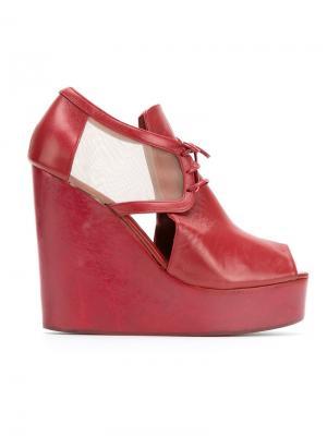 Leather wedge sandals Isabela Capeto. Цвет: красный