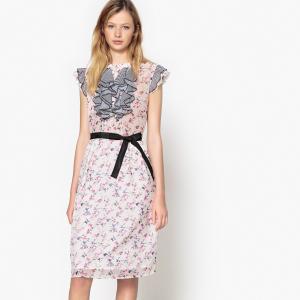 Платье с цветочным рисунком и небольшими воланами в полоску спереди MADEMOISELLE R. Цвет: рисунок цветочный/фон бежевый