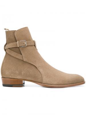 Фирменные ботинки Wyatt 30 Jodhpur Saint Laurent. Цвет: телесный