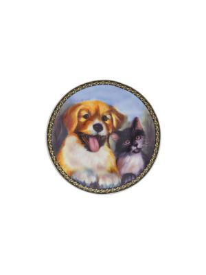 Тарелка декоративная Верные друзья Elan Gallery. Цвет: оранжевый, белый, черный