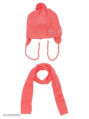 Шапка и шарф Grans. Цвет: коралловый