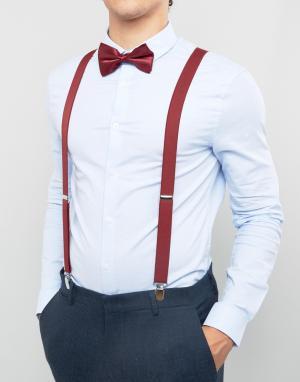 ASOS Бордовый галстук-бабочка и подтяжки в подарочном наборе Wedding. Цвет: красный
