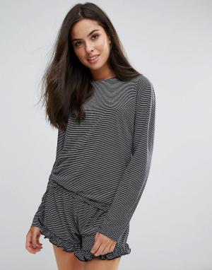 Chelsea Peers Пижама в полоску с оборками. Цвет: темно-синий