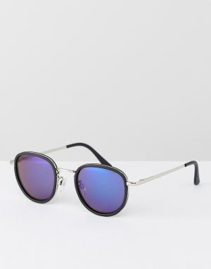 AJ Morgan Round Sunglasses With Blue Mirror Lens. Цвет: черный