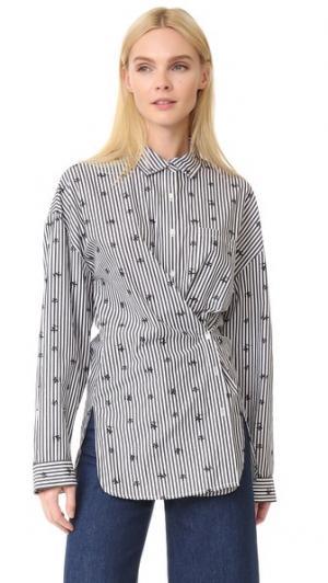 Рубашка в полоску с вышивкой Robert Rodriguez. Цвет: черный/белый