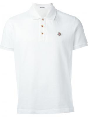 Классическая футболка-поло Moncler. Цвет: белый