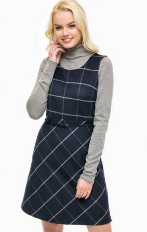 Платье в клетку на ремне MORE &. Цвет: синий