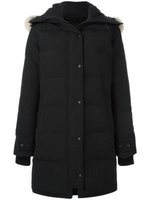 Пальто-пуховик Shelburne с мехом койота Canada Goose. Цвет: чёрный