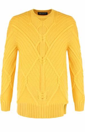 Шерстяной свитер фактурной вязки Neil Barrett. Цвет: желтый