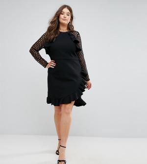 Truly You Платье с кружевными рукавами и запахом. Цвет: черный