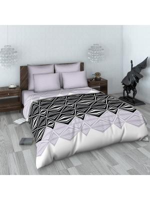 Комплект постельного белья Для НЕГО из поплина Евро Денди Василиса. Цвет: светло-серый, черный, серый