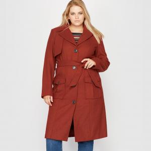 Пальто стилизовано под тренч, 40 % шерсти CASTALUNA. Цвет: красно-коричневый