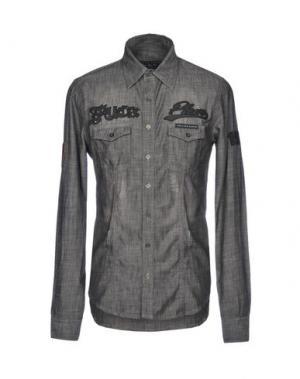 Джинсовая рубашка PHILIPP PLEIN. Цвет: стальной серый