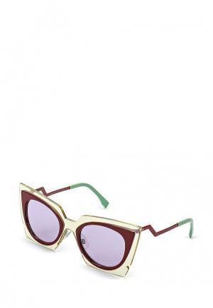 Очки солнцезащитные Fendi. Цвет: разноцветный