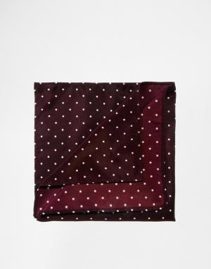 ASOS Платок для нагрудного кармана в горошек. Цвет: красный