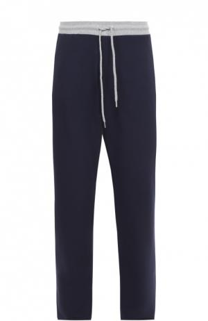 Хлопковые брюки прямого кроя с контрастным поясом Dirk Bikkembergs. Цвет: темно-синий