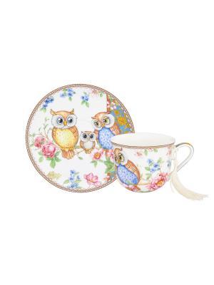 Чайная пара Совушки Elan Gallery. Цвет: розовый, зеленый, коричневый