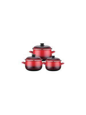 Набор кастрюль эмаль (газ/электро/индукция) 3,0/4,0/5,1л Reisz. Цвет: красный, черный