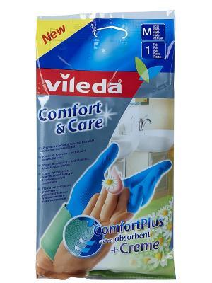 Перчатки Комфорт с кремом для чувствительной кожи рук M Vileda. Цвет: голубой