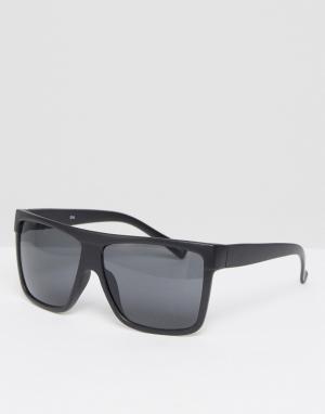 Quay Australia Солнцезащитные очки в черной матовой оправе с плоским верхом Flat. Цвет: черный
