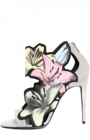 Кожаные босоножки с аппликациями Pierre Hardy. Цвет: разноцветный