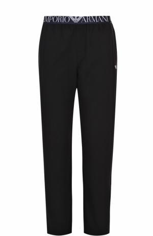 Хлопковые домашние брюки свободного кроя Emporio Armani. Цвет: черный