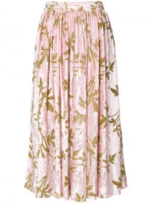 Юбка миди с узором Au Jour Le. Цвет: розовый и фиолетовый