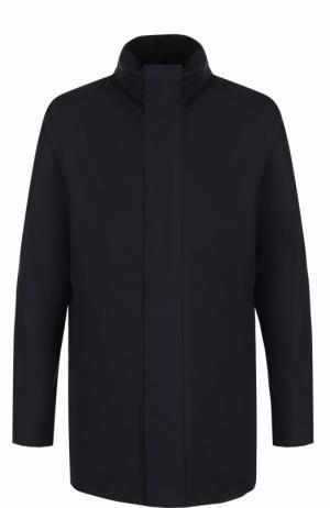 Шерстяная удлиненная куртка на молнии с воротником-стойкой Z Zegna. Цвет: темно-синий
