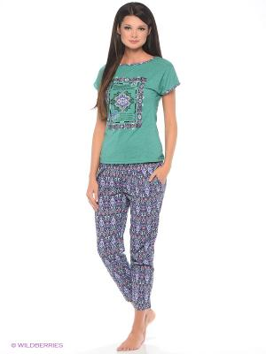 Комплект домашней одежды ( футболка, бриджи) HomeLike. Цвет: зеленый