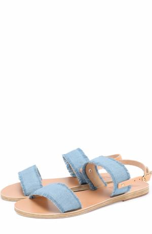 Сандалии Clio из денима Ancient Greek Sandals. Цвет: голубой