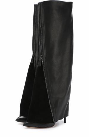Кожаные сапоги с декоративной отделкой Casadei. Цвет: черный
