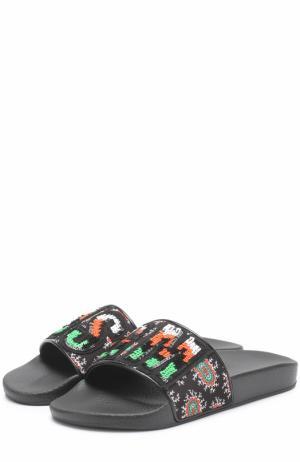 Шлепанцы с вышивкой бисером MSGM. Цвет: черный