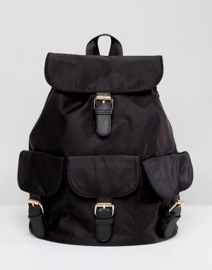 7X Рюкзак в стиле casual с пряжками. Цвет: черный