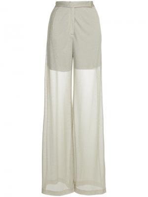 Прозрачные брюки с завышенной талией Maison Esve. Цвет: телесный